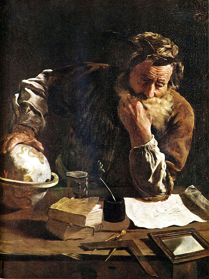 //Archimedes Thoughtful// an oil painting by Domenico Fetti made in 1620.