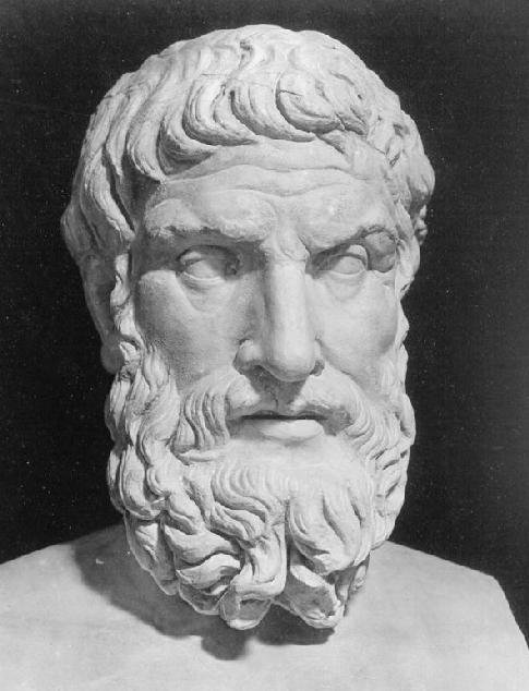 Epicurus, 341~270 BCE. Drawn from a damaged Roman copy of a Greek original now in the Palazzo Massimo alle Terme, Rome.